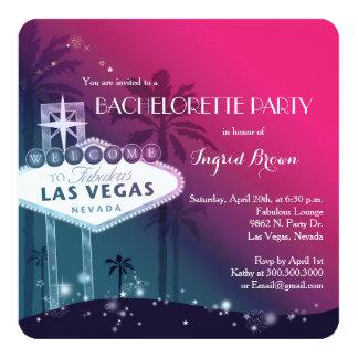 "Chic Modern Las Vegas Bachelorette Party 5.25"" Square Invitation Card"