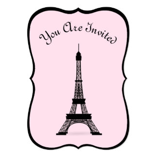 """Chic Pink and Black French Style Eiffel Tower 5"""" X 7"""" Invitation Card"""