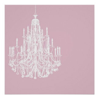Chic Pink Chandelier Poster