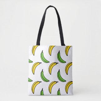 Chic Trendy Green and Yellow Banana Pattern Tote Bag