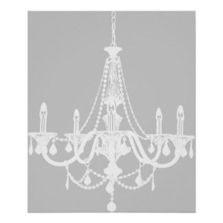 Chic White and Gray Chandelier Poster