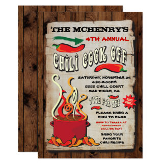"""CHILI COOK OFF Party Poster 5"""" X 7"""" Invitation Card"""