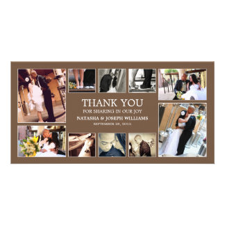 CHOCOLATE COLLAGE   WEDDING THANK YOU CARD PHOTO GREETING CARD