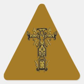 Christian Ornate Cross 5 Triangle Sticker