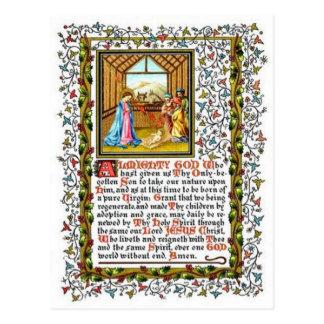 Christian Prayer With Nativity Postcard
