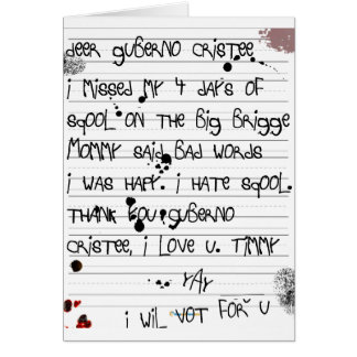 Christie Bridge Scandal Timmy's letter to the Guv Greeting Card
