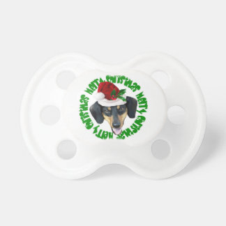 Christmas Dachshund dog Baby Pacifier