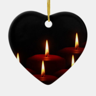 Christmas Holiday Advent Candle Flames Ceramic Heart Ornament