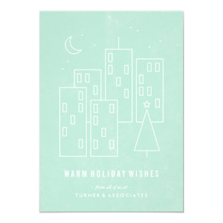 """Christmas in the City Holiday Card - Mint 5"""" X 7"""" Invitation Card"""
