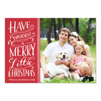 """Christmas Red Calligraphy 1 Photo 5"""" X 7"""" Invitation Card"""