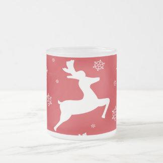 Christmas Reindeer 10 Oz Frosted Glass Coffee Mug