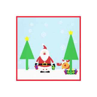 CHRISTMAS SANTA SCENE STRETCHED CANVAS PRINT