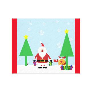 CHRISTMAS SANTA SCENE STRETCHED CANVAS PRINTS