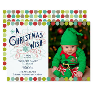 "Christmas Wish Holiday Photo Card 5"" X 7"" Invitation Card"