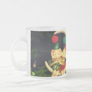 Christmas's mice on the Moon 10 Oz Frosted Glass Coffee Mug