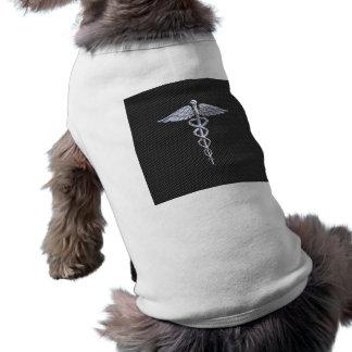 Chrome Caduceus Medical Symbol Carbon Fiber Decor Doggie Tee