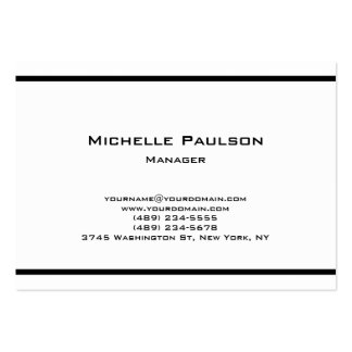 Chubby Plain Black White Manager Consultant Large Business Card