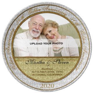 cinquantième Photo d'anniversaire de mariage Assiette En Porcelaine