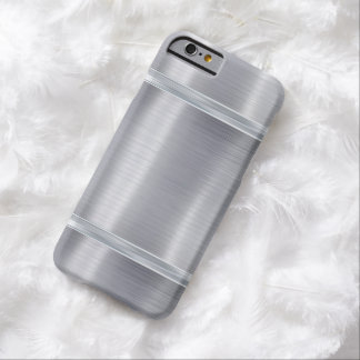 Classic Metal Steel Gloss Metallic Silver Gray Barely There iPhone 6 Case