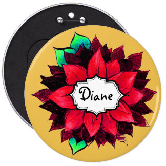 CLASSIC POINSETTIA in RED 6 Inch Round Button
