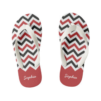 Classic Red and Black Chevron Custom Name Kid's Flip Flops