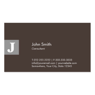 Classy Brown Monogram Consultant Business Card