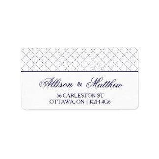 Classy Navy Blue Check Pattern Address Label