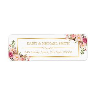 Classy Pastel Flowers White Chic Gold Frame Return Address Label