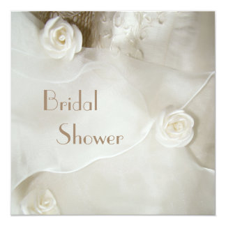 "Classy Vintage Wedding Gown Bridal Shower 5.25"" Square Invitation Card"