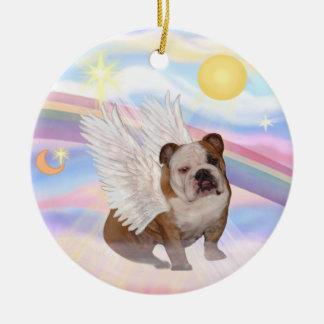 Clouds - English Bulldog Angel Round Ceramic Ornament