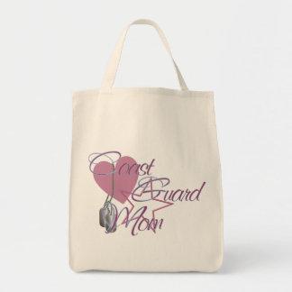 Coast Guard Mom Heart N Star Grocery Tote Bag