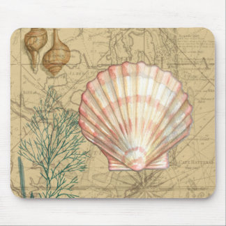 Coastal Map Collage Mouse Pad