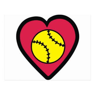 Coeur du base-ball carte postale