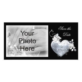 Coeur en filigrane argenté et roses blancs cartes avec photo
