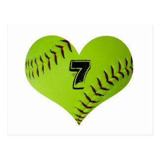 Coeur personnalisé du base-ball carte postale