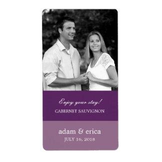 Color Blocks Wedding Wine Labels (Purple)