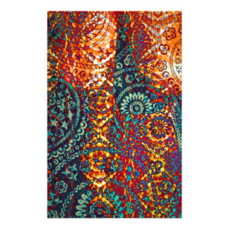 Colored Paisley pattern Personalized Stationery