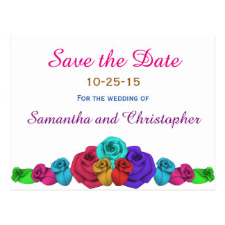 Colored wedding roses | Save the date Postcard