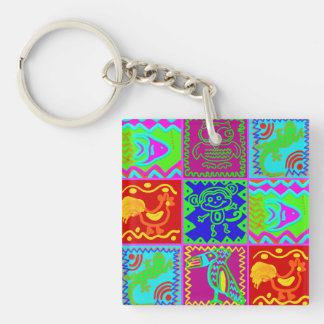 Colorful Bold Funky Animals Patchwork Pattern Double-Sided Square Acrylic Keychain