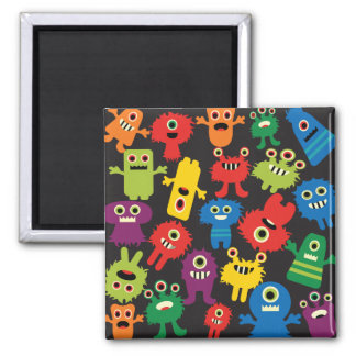 Colorful Crazy Fun Monsters Creatures Pattern Square Magnet