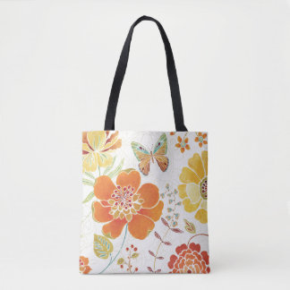 Colorful Flowers and Butterflies Tote Bag