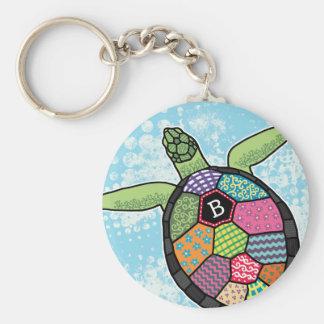 Colorful Patchwork Pattern Monogram Sea Turtle Basic Round Button Keychain