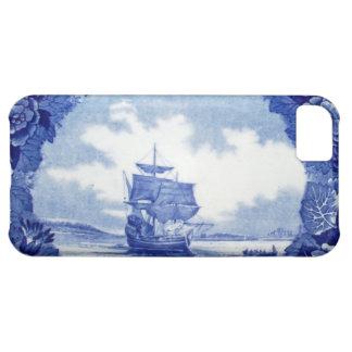 Commemorative vintage blue & white Mayflower China Case For iPhone 5C