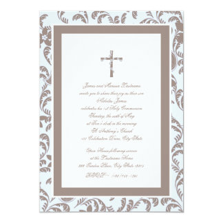 "Communion Soft Blue and Brown Paisley 5"" X 7"" Invitation Card"