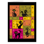 Composition with 5 Black Cats Halloween Colours Greeting Card