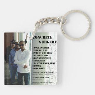 """Concrete Surgery """"The Second Album"""" keychain. Double-Sided Square Acrylic Keychain"""