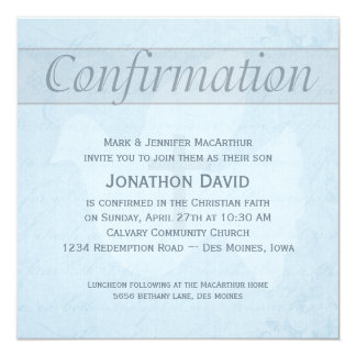 """Confirmation Holy Spirit Dove and Cross Blue 5.25"""" Square Invitation Card"""