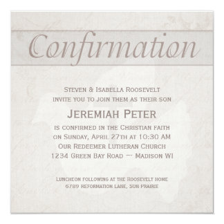 """Confirmation Holy Spirit Dove With Cross Taupe 5.25"""" Square Invitation Card"""
