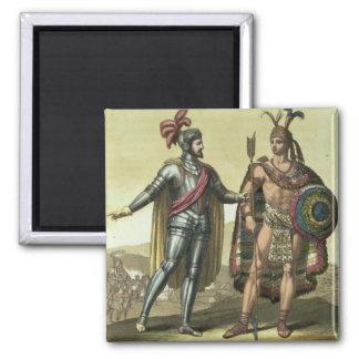 Conquistador with a Native American Chief (colour Square Magnet