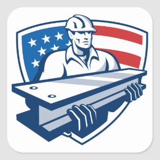Construction Steel Worker I-Beam American Flag Square Sticker